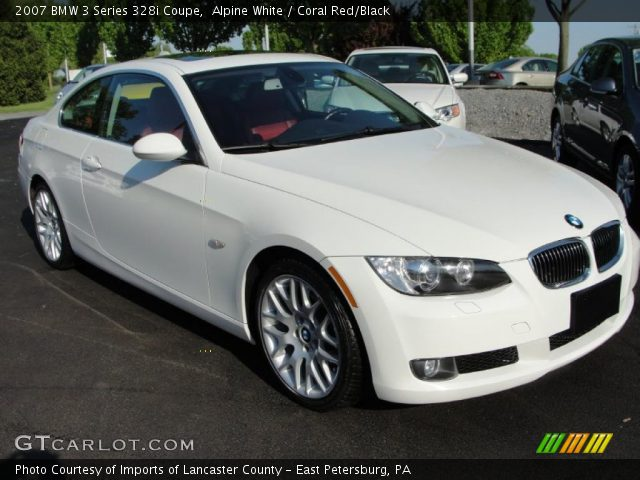 alpine white 2007 bmw 3 series 328i coupe coral red black interior vehicle. Black Bedroom Furniture Sets. Home Design Ideas