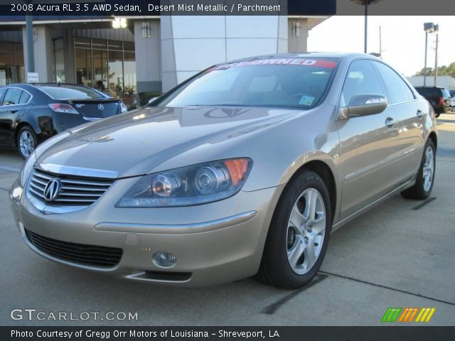 desert mist metallic 2008 acura rl 3 5 awd sedan parchment interior vehicle. Black Bedroom Furniture Sets. Home Design Ideas