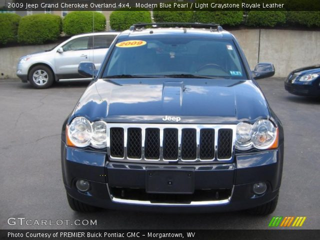 modern blue pearl 2009 jeep grand cherokee overland 4x4 light graystone royale leather. Black Bedroom Furniture Sets. Home Design Ideas