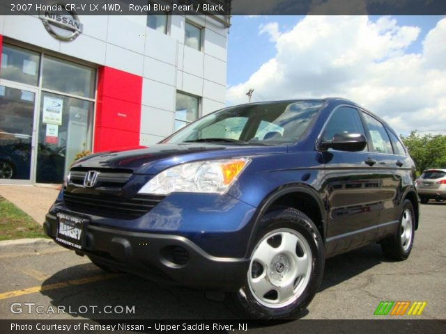 royal blue pearl 2007 honda cr v lx 4wd black interior vehicle archive. Black Bedroom Furniture Sets. Home Design Ideas