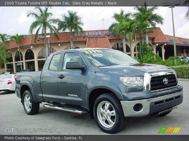 slate gray metallic 2009 toyota tundra sr5 double cab black interior. Black Bedroom Furniture Sets. Home Design Ideas
