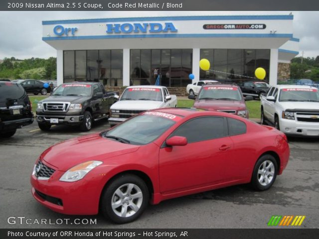 code red metallic 2009 nissan altima 2 5 s coupe blond interior vehicle. Black Bedroom Furniture Sets. Home Design Ideas