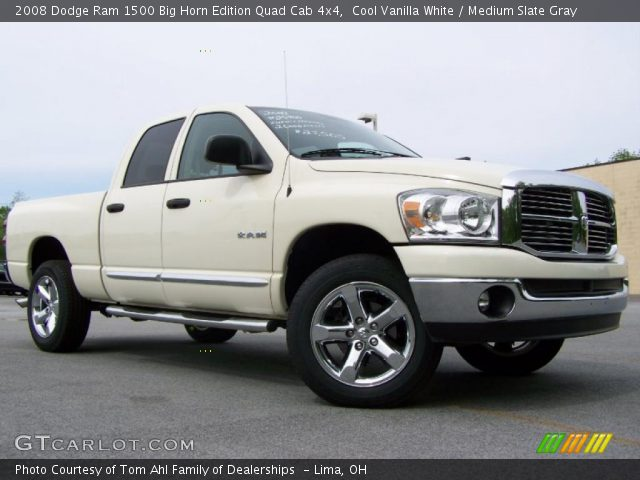 cool vanilla white 2008 dodge ram 1500 big horn edition quad cab 4x4 medium slate gray. Black Bedroom Furniture Sets. Home Design Ideas