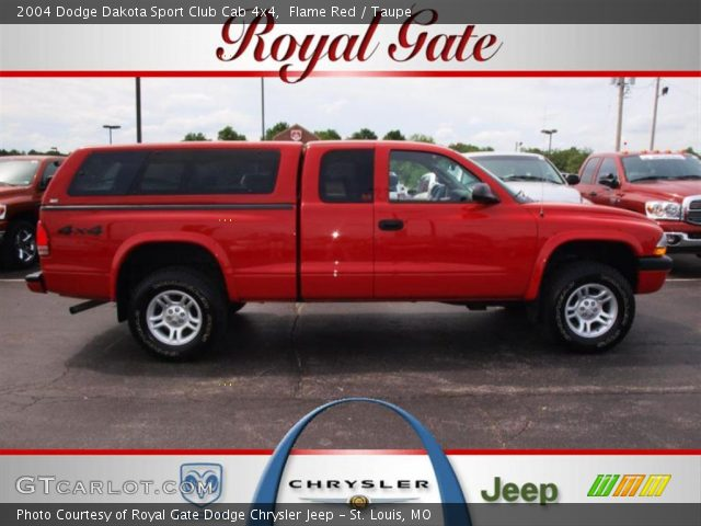 flame red 2004 dodge dakota sport club cab 4x4 taupe interior vehicle. Black Bedroom Furniture Sets. Home Design Ideas