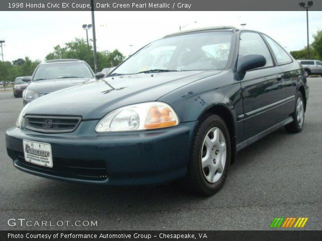 dark green pearl metallic 1998 honda civic ex coupe gray interior vehicle. Black Bedroom Furniture Sets. Home Design Ideas