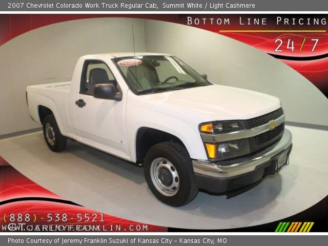 summit white 2007 chevrolet colorado work truck regular cab light cashmere interior. Black Bedroom Furniture Sets. Home Design Ideas