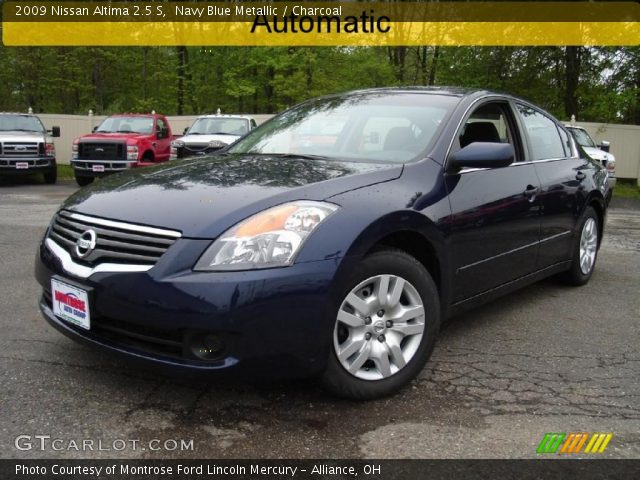 navy blue metallic 2009 nissan altima 2 5 s charcoal interior vehicle. Black Bedroom Furniture Sets. Home Design Ideas