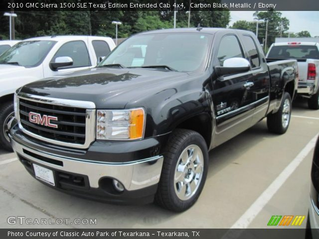 carbon black metallic 2010 gmc sierra 1500 sle texas edition extended cab 4x4 ebony interior. Black Bedroom Furniture Sets. Home Design Ideas