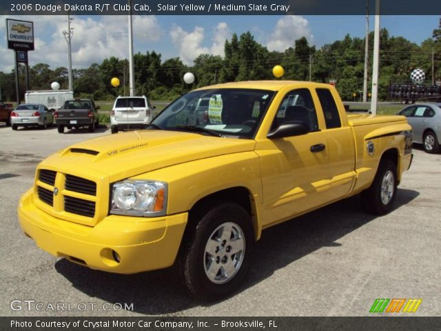solar yellow 2006 dodge dakota r t club cab medium slate gray interior. Black Bedroom Furniture Sets. Home Design Ideas
