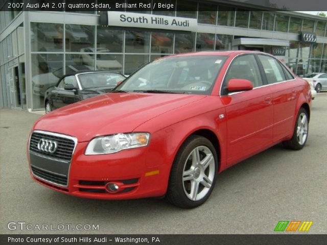 brilliant red 2007 audi a4 2 0t quattro sedan beige. Black Bedroom Furniture Sets. Home Design Ideas