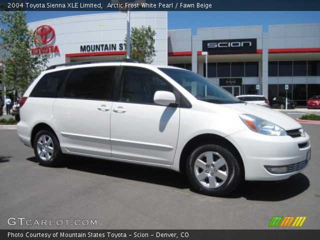 arctic frost white pearl 2004 toyota sienna xle limited fawn beige interior. Black Bedroom Furniture Sets. Home Design Ideas