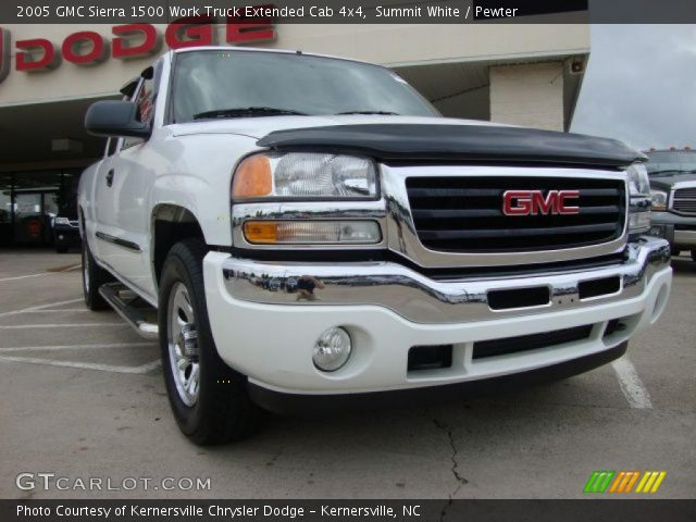 summit white 2005 gmc sierra 1500 work truck extended cab 4x4 pewter interior. Black Bedroom Furniture Sets. Home Design Ideas