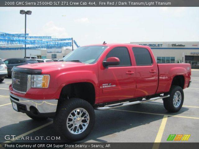 fire red 2008 gmc sierra 2500hd slt z71 crew cab 4x4 dark titanium light titanium interior. Black Bedroom Furniture Sets. Home Design Ideas