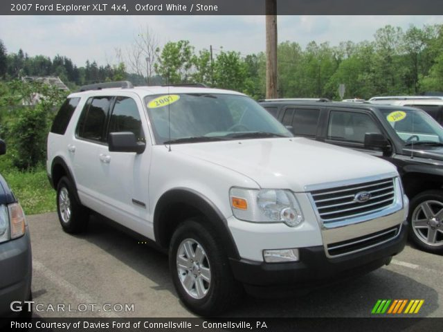 oxford white 2007 ford explorer xlt 4x4 stone interior. Black Bedroom Furniture Sets. Home Design Ideas