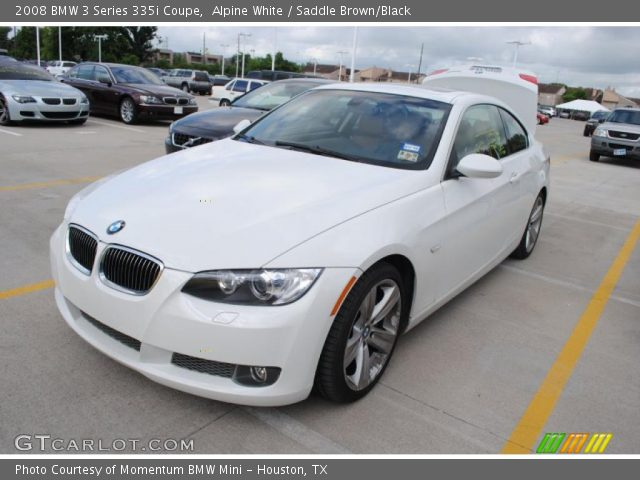 alpine white 2008 bmw 3 series 335i coupe saddle brown black interior. Black Bedroom Furniture Sets. Home Design Ideas