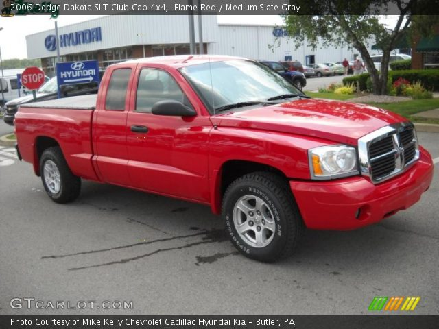 flame red 2006 dodge dakota slt club cab 4x4 medium slate gray interior. Black Bedroom Furniture Sets. Home Design Ideas
