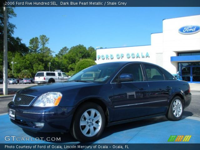dark blue pearl metallic 2006 ford five hundred sel shale grey interior. Black Bedroom Furniture Sets. Home Design Ideas
