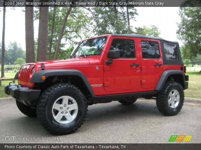 Flame Red 2007 Jeep Wrangler Unlimited X 4x4 Dark Slate Gray Medium Slate Gray Interior
