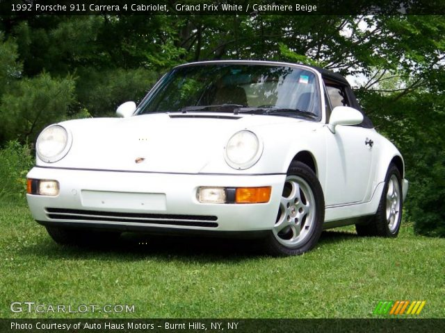 grand prix white 1992 porsche 911 carrera 4 cabriolet cashmere beige interior. Black Bedroom Furniture Sets. Home Design Ideas