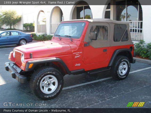 flame red 1999 jeep wrangler sport 4x4 camel interior. Black Bedroom Furniture Sets. Home Design Ideas