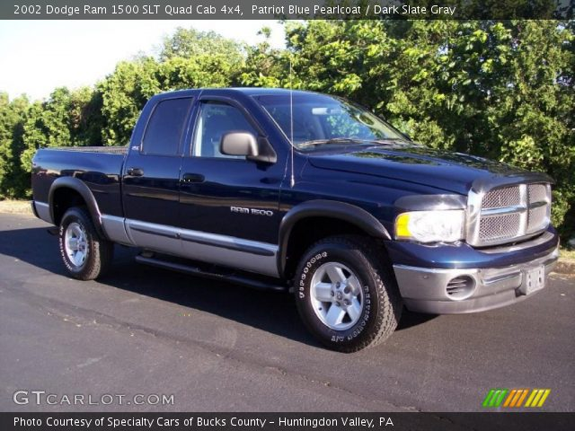 patriot blue pearlcoat 2002 dodge ram 1500 slt quad cab 4x4 dark slate gray interior. Black Bedroom Furniture Sets. Home Design Ideas