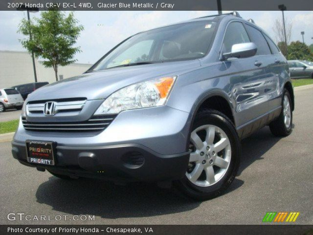 glacier blue metallic 2007 honda cr v ex l 4wd gray interior vehicle. Black Bedroom Furniture Sets. Home Design Ideas