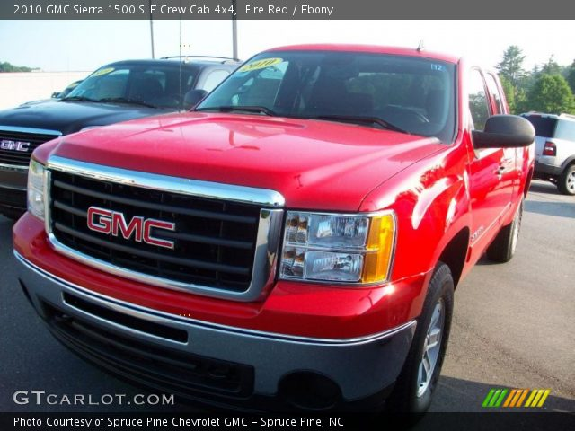 fire red 2010 gmc sierra 1500 sle crew cab 4x4 ebony interior vehicle. Black Bedroom Furniture Sets. Home Design Ideas