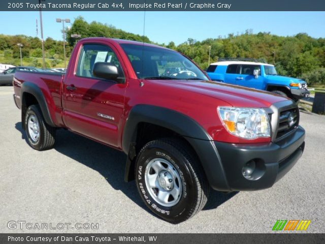 impulse red pearl 2005 toyota tacoma regular cab 4x4 graphite gray interior. Black Bedroom Furniture Sets. Home Design Ideas