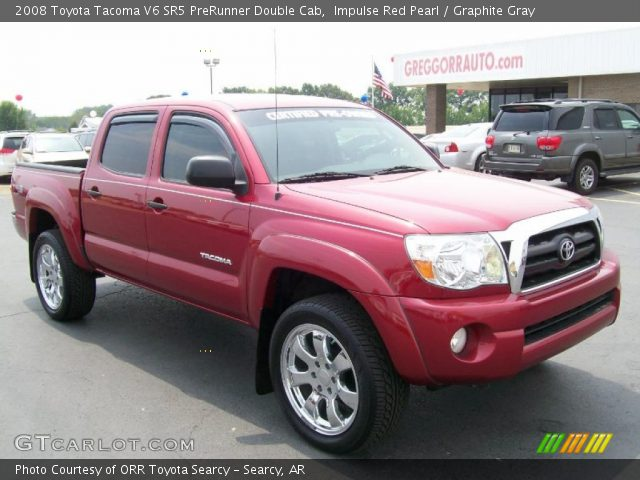 impulse red pearl 2008 toyota tacoma v6 sr5 prerunner double cab graphite gray interior. Black Bedroom Furniture Sets. Home Design Ideas