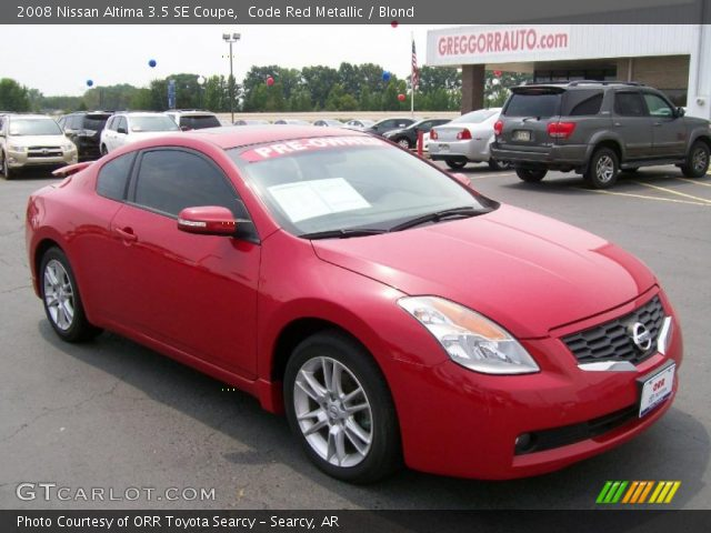 code red metallic 2008 nissan altima 3 5 se coupe blond interior vehicle. Black Bedroom Furniture Sets. Home Design Ideas
