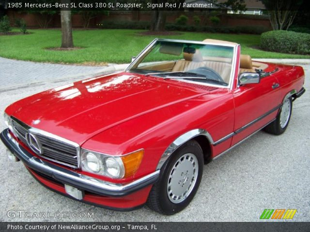 signal red 1985 mercedes benz sl class 380 sl roadster parchment interior. Black Bedroom Furniture Sets. Home Design Ideas