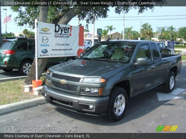 Steel Green Metallic 2010 Chevrolet Colorado Lt Extended Cab Ebony Light Cashmere Interior