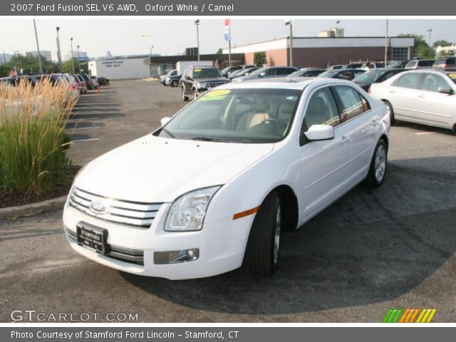 oxford white 2007 ford fusion sel v6 awd camel interior vehicle archive. Black Bedroom Furniture Sets. Home Design Ideas