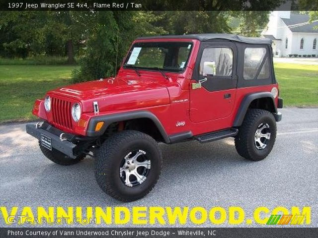 Flame red 1997 jeep wrangler se 4x4 tan interior - Jeep wrangler red interior for sale ...