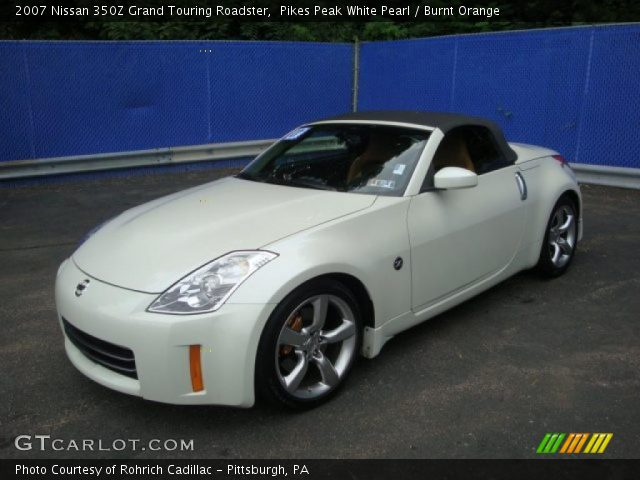 pikes peak white pearl 2007 nissan 350z grand touring roadster burnt orange interior. Black Bedroom Furniture Sets. Home Design Ideas
