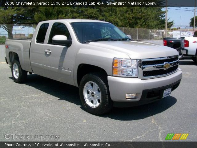 silver birch metallic 2008 chevrolet silverado 1500 z71 extended cab 4x4 ebony interior. Black Bedroom Furniture Sets. Home Design Ideas