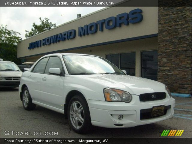 aspen white 2004 subaru impreza 2 5 rs sedan dark gray interior vehicle. Black Bedroom Furniture Sets. Home Design Ideas