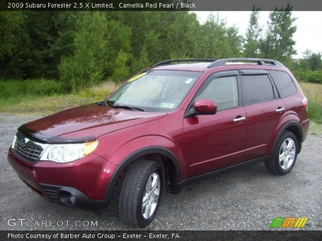 camellia red pearl 2009 subaru forester 2 5 x limited black interior. Black Bedroom Furniture Sets. Home Design Ideas