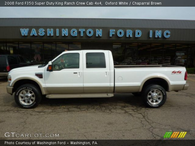 Oxford White 2008 Ford F350 Super Duty King Ranch Crew Cab 4x4 Chaparral Brown Interior