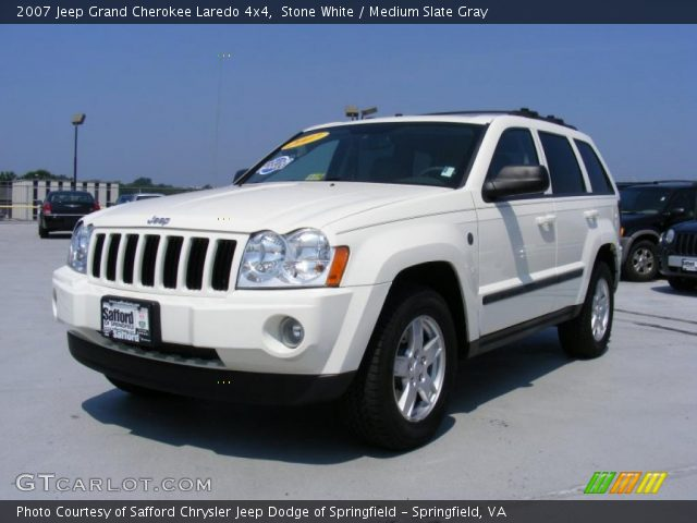 stone white 2007 jeep grand cherokee laredo 4x4 medium slate gray interior. Black Bedroom Furniture Sets. Home Design Ideas