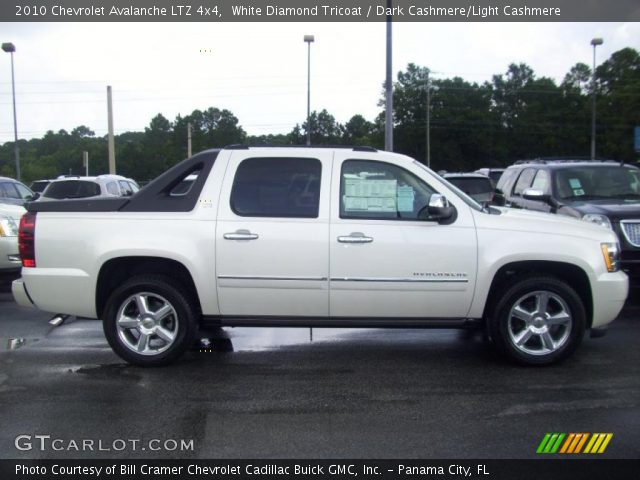 white diamond tricoat 2010 chevrolet avalanche ltz 4x4 dark cashmere light cashmere interior. Black Bedroom Furniture Sets. Home Design Ideas