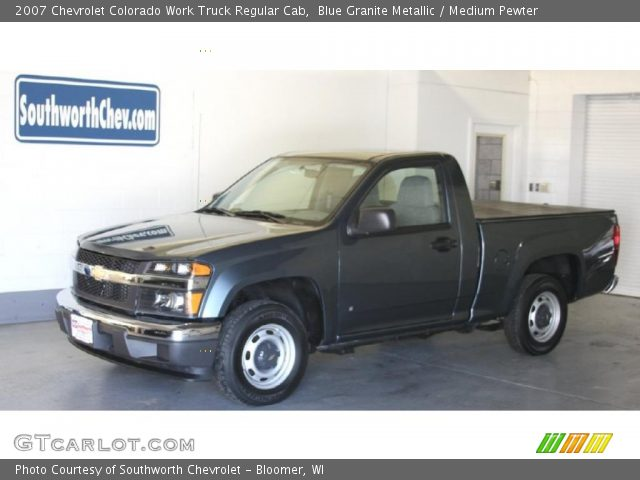 blue granite metallic 2007 chevrolet colorado work truck regular cab medium pewter interior. Black Bedroom Furniture Sets. Home Design Ideas