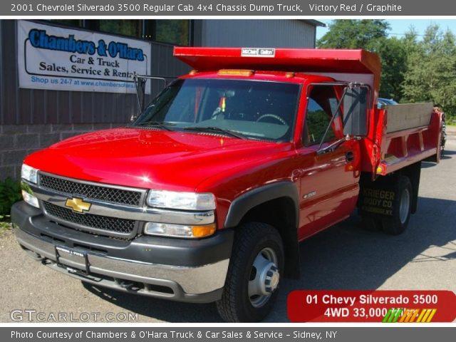 victory red 2001 chevrolet silverado 3500 regular cab 4x4 chassis dump truck graphite. Black Bedroom Furniture Sets. Home Design Ideas