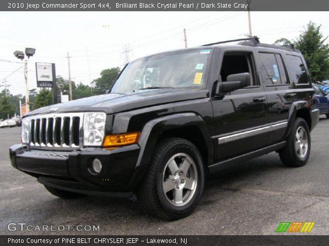 Brilliant Black Crystal Pearl 2010 Jeep Commander Sport 4x4 Dark Slate Gray Interior