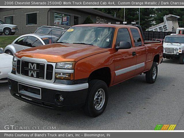custom orange metallic 2006 chevrolet silverado 2500hd work truck extended cab 4x4 dark. Black Bedroom Furniture Sets. Home Design Ideas
