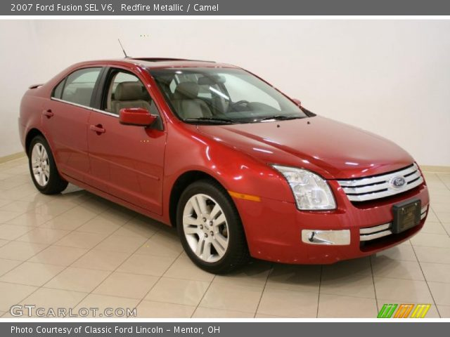 redfire metallic 2007 ford fusion sel v6 camel interior vehicle archive. Black Bedroom Furniture Sets. Home Design Ideas