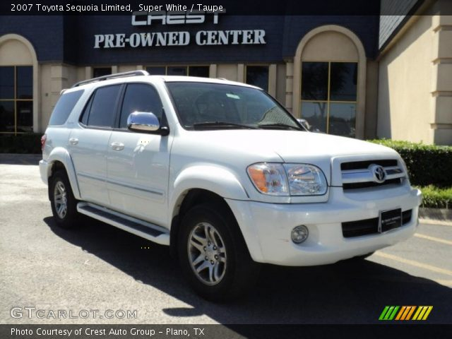 Super White 2007 Toyota Sequoia Limited with Taupe interior 2007 Toyota