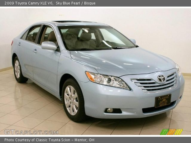 sky blue pearl 2009 toyota camry xle v6 bisque interior vehicle archive. Black Bedroom Furniture Sets. Home Design Ideas