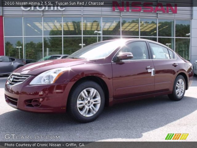 tuscan sun red 2010 nissan altima 2 5 sl charcoal interior vehicle archive. Black Bedroom Furniture Sets. Home Design Ideas