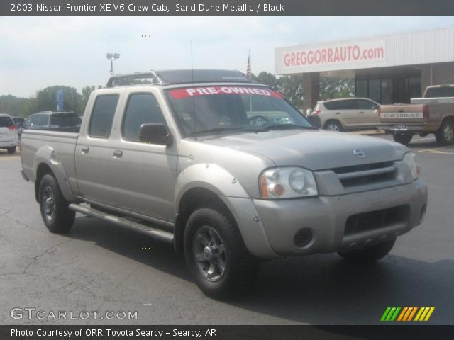 sand dune metallic 2003 nissan frontier xe v6 crew cab black interior. Black Bedroom Furniture Sets. Home Design Ideas